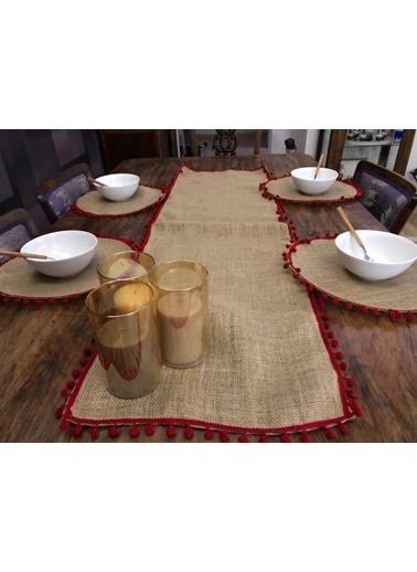 Giz Home Giz Home Ta57Bd E&C Jüt 4 Kişilik Ponponlu Kahve Runner Ve Supla Takımı Renkli